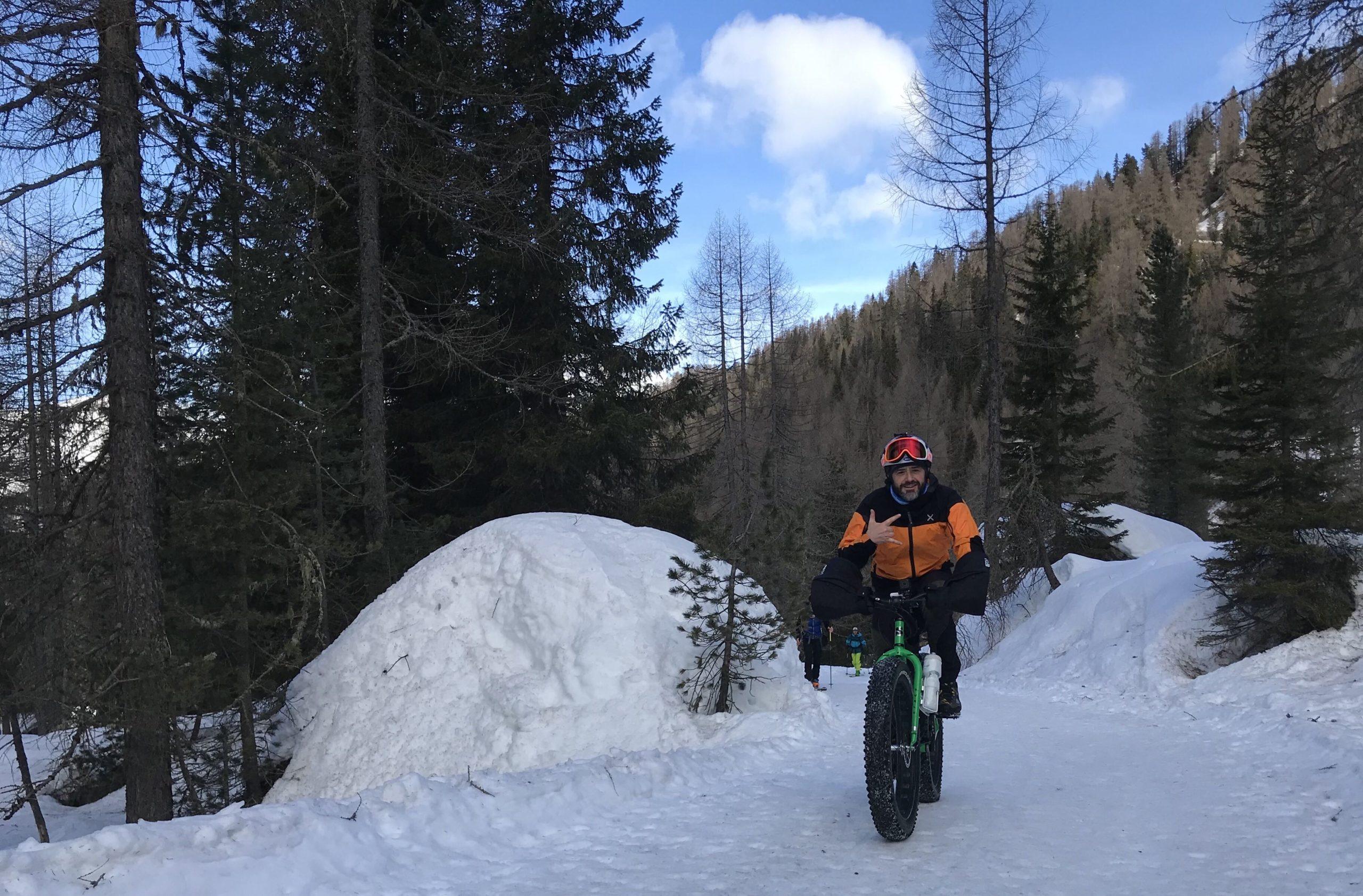Val Venegia, fat bike, Trentino, viaggiare in Trentino , vacanze in trentino, Dolomiti, patrimonio Unesco, Dolomiti in inverno, Passo Rolle, Parco naturale panneggio Pale di San Martino, pedalare nelle Dolomiti, vacanze in bici, bicicletta